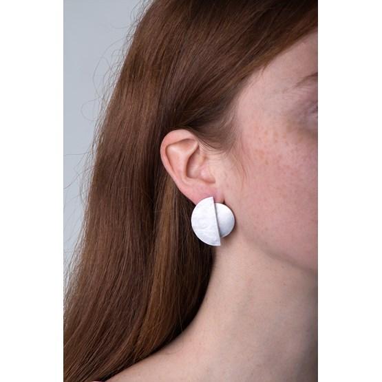 Stud earrings moon eclipse - silver - Design : LLAYERS
