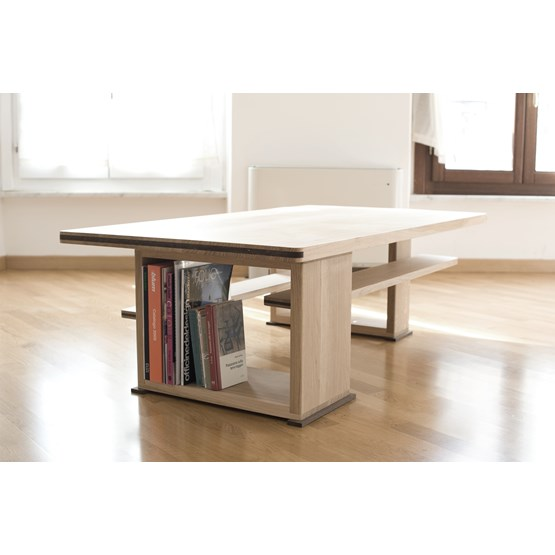 Disquadro coffee table - oak - Design : Ebanisteria Meccanica