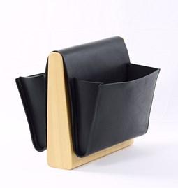 Porte revue en cuir SADDLE MAGAZINE RACK - frêne + cuir noir