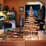 Christmas tree in wood Yelka - walnut / white Stand 2