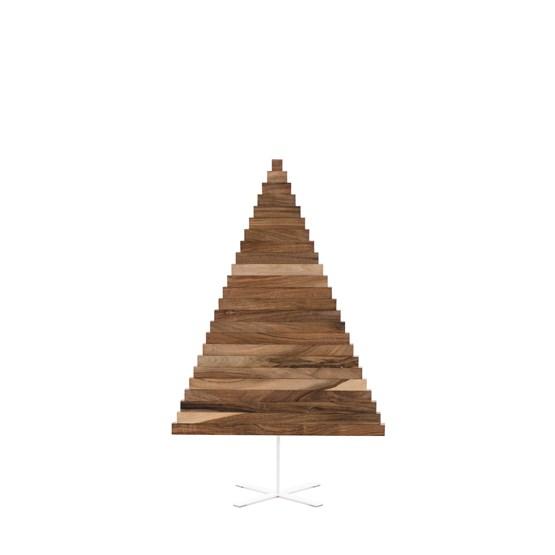 Christmas tree in wood Yelka - walnut / white Stand - Design : Hello Yellow House
