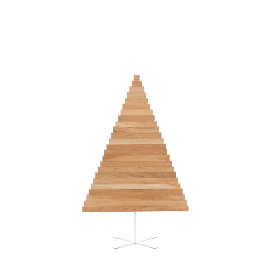 Christmas tree in wood Yelka - oak / White Stand - Design : Hello Yellow House