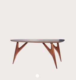 TED ONE Table / small - mahogany and grey table top
