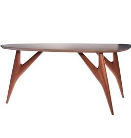 Table TED / small - acajou et plateau gris