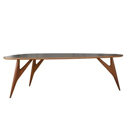 TED ONE Table / large - mahogany and grey table top