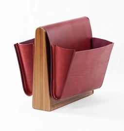 SADDLE MAGAZINE RACK -  walnut + burgundy leather