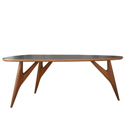 TED Table / medium - mahogany and grey table top