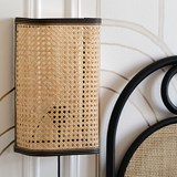 Large wall light in cannage - natural and black 3