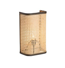 Large wall light in cannage - natural and black