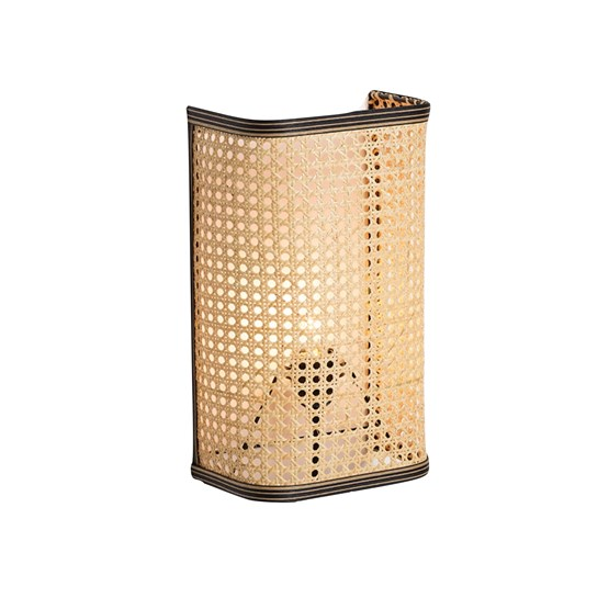 Large wall light in cannage - natural and black - Design : UNUM
