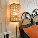 Large wall light in cannage - natural and black 5