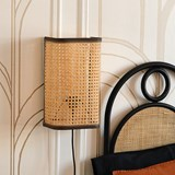 Large wall light in cannage - natural and black 6