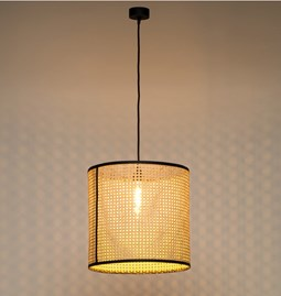 Pendant light in cannage - black - size M