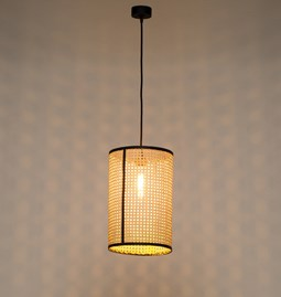 Pendant light in cannage - black - size S