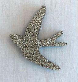 Pin's Hirondelle dorée - Glitter felt