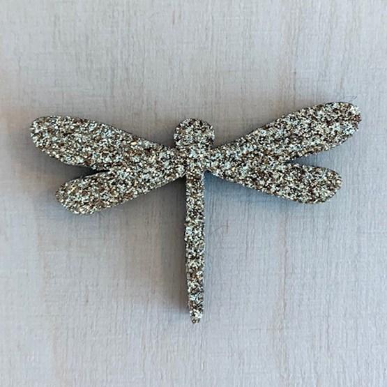 Golden Dragonfly Pin - Glitter felt - Design : Les petites hirondelles