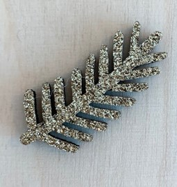 Golden Pine Branch Pin - Glitter felt