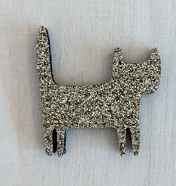 Golden standing cat pin -  Glitter felt