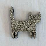 Golden standing cat pin -  Glitter felt 2