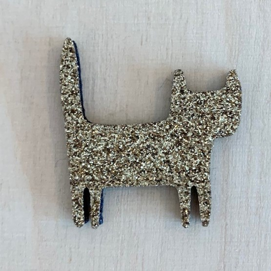 Golden standing cat pin -  Glitter felt - Design : Les petites hirondelles
