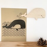 Whale wall decoration - Wood 3