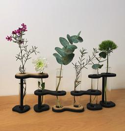 Vase SixFleurs -  verre et bois