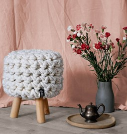 Moss footstool - beige