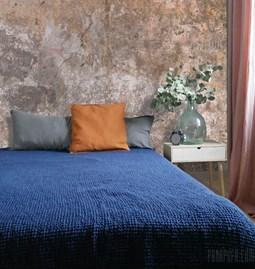 Couverture lin gaufré - bleu