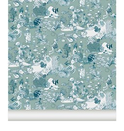 Wallpaper Toile de mer - Green Blue
