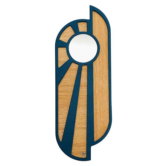 Miroir Blue Sunset - bleu et bois - Design : Dikroma création