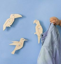 Bird Coat Hook  - set of 3 wood