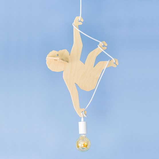 Suspension Lumineuse Singe ABOU - Bois - Design : Studio Ruthy Design