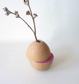 Vase LES COQUETTES - hêtre / rose fuchsia