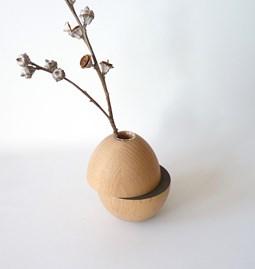 Vase LES COQUETTES - hêtre / gris