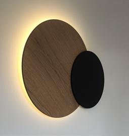 Décoration murale lumineuse Eclipse - Noir et chêne
