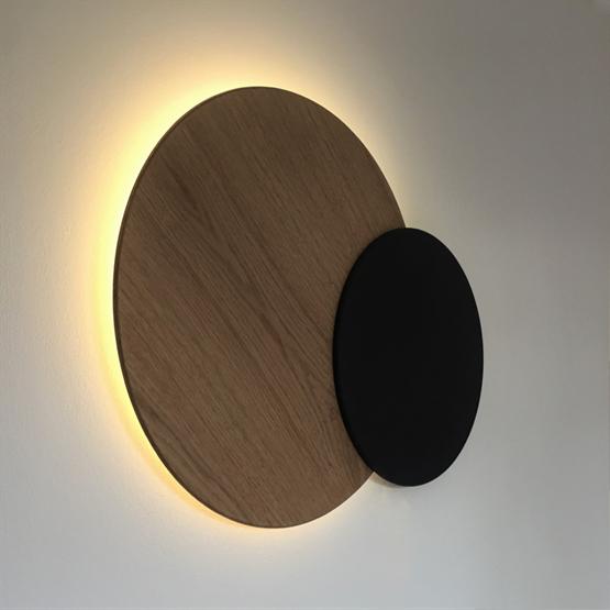 Décoration murale lumineuse Eclipse - Noir et chêne - Design : Dikroma création