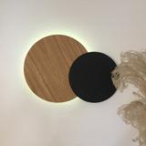 Décoration murale lumineuse Eclipse - Noir et chêne 5