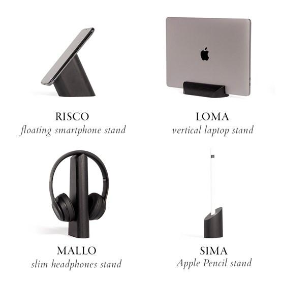 Risco, Loma, Mallo and Sima Desk Accessories Combo - Black - Design : WOODENDOT