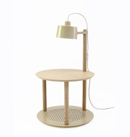 Small round table & lamp by charlotte - Laiton Vieilli