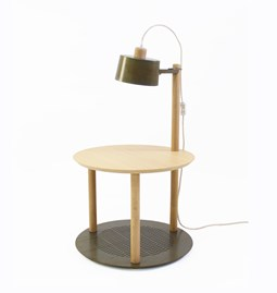 small round table & Lamp by Charlotte - Métal brut