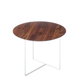 Walnut 01 Side Table - natural walnut & white metal