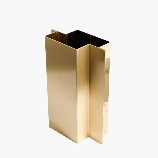 SHIFT Vase - polished and brushed brass  - Design : Philippe Vermeersch & Caroline Gielen