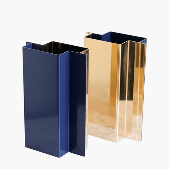 SHIFT vase - Polished Brass & Lacquered Steel  - Design : Philippe Vermeersch & Caroline Gielen