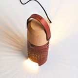 CALLIA lamp light leather and brass button 5