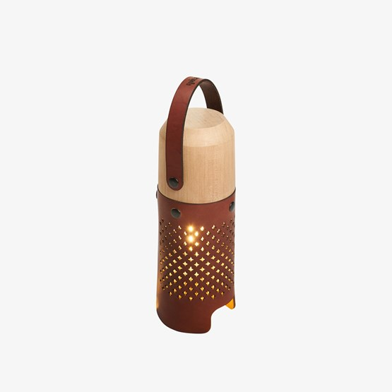CALLIA lamp light leather and brass button - Design : Apical Studio