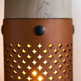 CALLIA lamp light leather and brass button 3