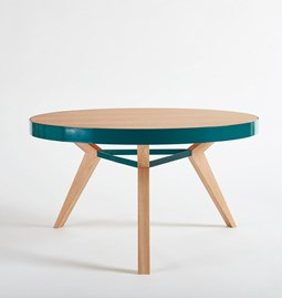 SPOT coffee table - turquoise steel and wood