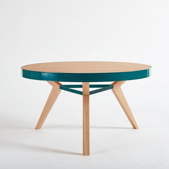 Table basse SPOT turquoise et bois - Design : NEUVONFRISCH
