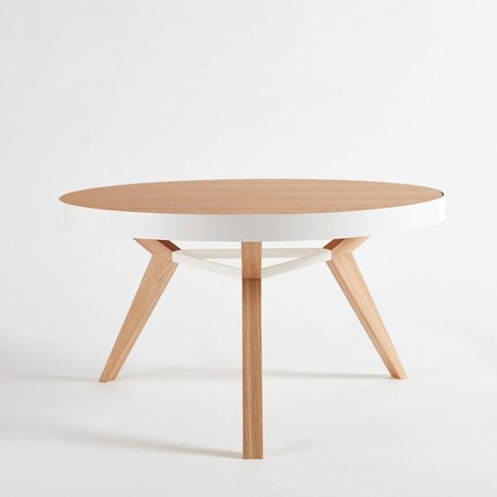 Table basse SPOT blanche et bois - Design : NEUVONFRISCH