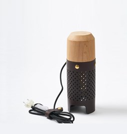 CALLIA lamp dark leather and brass button